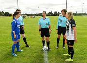8 September 2019; Referee Sarah Dyas, centre, with captains Aoife Freyne of Manulla FC, left, and Charlie Graham of Whitehall Rangers during the coin toss prior to the FAI Women's Intermediate Shield Final match between Manulla FC and Whitehall Rangers at Mullingar Athletic FC in Mullingar, Co. Westmeath. Photo by Seb Daly/Sportsfile
