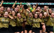 8 September 2019; Kerry captain Niamh Leen and her team-mates celebrate with the Kathleen Mills Cup after the Liberty Insurance All-Ireland Premier Junior Camogie Championship Final match between Kerry and Limerick at Croke Park in Dublin. Photo by Piaras Ó Mídheach/Sportsfile