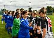 8 September 2019; Manulla FC captain Aoife Freyne leads her side duringthe handshakes prior to during the FAI Women's Intermediate Shield Final match between Manulla FC and Whitehall Rangers at Mullingar Athletic FC in Mullingar, Co. Westmeath. Photo by Seb Daly/Sportsfile