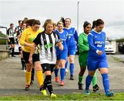 8 September 2019; Captains Charlie Graham of Whitehall Rangers, left, and Aoife Freyne or Manulla FC lead thier side's out prior to the FAI Women's Intermediate Shield Final match between Manulla FC and Whitehall Rangers at Mullingar Athletic FC in Mullingar, Co. Westmeath. Photo by Seb Daly/Sportsfile