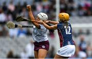 8 September 2019; Dervla Higgins of Galway in action against Megan Dowdall of Westmeath during the Liberty Insurance All-Ireland Intermediate Camogie Championship Final match between Galway and Westmeath at Croke Park in Dublin. Photo by Piaras Ó Mídheach/Sportsfile