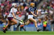 8 September 2019; Caoimhe McCrossan of Westmeath gets away from Dervla Higgins of Galway during the Liberty Insurance All-Ireland Intermediate Camogie Championship Final match between Galway and Westmeath at Croke Park in Dublin. Photo by Piaras Ó Mídheach/Sportsfile