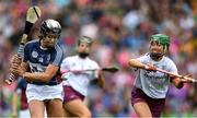 8 September 2019; Pamela Greville of Westmeath in action against Laura Ward of Galway during the Liberty Insurance All-Ireland Intermediate Camogie Championship Final match between Galway and Westmeath at Croke Park in Dublin. Photo by Piaras Ó Mídheach/Sportsfile