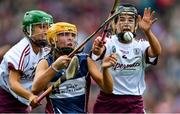 8 September 2019; Megan Dowdall of Westmeath is tackled by Laura Ward, left, and Ciara Donohue of Galway during the Liberty Insurance All-Ireland Intermediate Camogie Championship Final match between Galway and Westmeath at Croke Park in Dublin. Photo by Piaras Ó Mídheach/Sportsfile