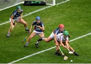 8 September 2019; Mairéad Dillion of Galway is tackled by Meadbh Scally of Westmeath during the Liberty Insurance All-Ireland Intermediate Camogie Championship Final match between Galway and Westmeath at Croke Park in Dublin. Photo by Ramsey Cardy/Sportsfile