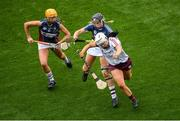 8 September 2019; Dervla Higgins of Galway in action against Megan Dowdall, left, and Mairead McCormack of Westmeath during the Liberty Insurance All-Ireland Intermediate Camogie Championship Final match between Galway and Westmeath at Croke Park in Dublin. Photo by Ramsey Cardy/Sportsfile