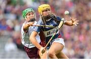 8 September 2019; Megan Dowdall of Westmeath in action against Laura Ward of Galway during the Liberty Insurance All-Ireland Intermediate Camogie Championship Final match between Galway and Westmeath at Croke Park in Dublin. Photo by Ramsey Cardy/Sportsfile