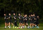 8 September 2019; The Republic of Ireland team warm-up during a Republic of Ireland Squad Training session at FAI National Training Centre in Abbotstown, Dublin. Photo by Stephen McCarthy/Sportsfile