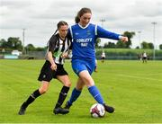 8 September 2019; Aishling Flannery of Manulla FC in action against Leah Farrell of Whitehall Rangers during the FAI Women's Intermediate Shield Final match between Manulla FC and Whitehall Rangers at Mullingar Athletic FC in Mullingar, Co. Westmeath. Photo by Seb Daly/Sportsfile