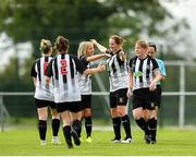 8 September 2019; Rachel McLoughlin of Whitehall Rangers, second right, is congratulated by team-mates after scoring her side's second goal during the FAI Women's Intermediate Shield Final match between Manulla FC and Whitehall Rangers at Mullingar Athletic FC in Mullingar, Co. Westmeath. Photo by Seb Daly/Sportsfile