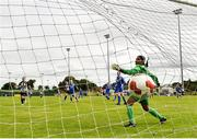 8 September 2019; Simona Fernandes or Manulla FC fails to keep out a shot from Rachel McLoughlin of Whitehall Rangers during the FAI Women's Intermediate Shield Final match between Manulla FC and Whitehall Rangers at Mullingar Athletic FC in Mullingar, Co. Westmeath. Photo by Seb Daly/Sportsfile