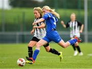 8 September 2019; Laura Regan of Manulla FC in action against Charlie Graham of Whitehall Rangers during the FAI Women's Intermediate Shield Final match between Manulla FC and Whitehall Rangers at Mullingar Athletic FC in Mullingar, Co. Westmeath. Photo by Seb Daly/Sportsfile