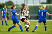 8 September 2019; Aedin Hayes of Whitehall Rangers in action against Emma Cosgrave, left, and Laura Regan of Manulla FC during the FAI Women's Intermediate Shield Final match between Manulla FC and Whitehall Rangers at Mullingar Athletic FC in Mullingar, Co. Westmeath. Photo by Seb Daly/Sportsfile