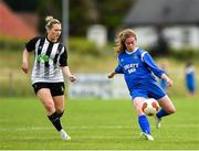 8 September 2019; Tara Phillips of Manulla FC in action against Katrina Moore of Whitehall Rangers during the FAI Women's Intermediate Shield Final match between Manulla FC and Whitehall Rangers at Mullingar Athletic FC in Mullingar, Co. Westmeath. Photo by Seb Daly/Sportsfile
