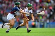 8 September 2019; Mairéad Dillion of Galway in action against Fiona Leavy of Westmeath during the Liberty Insurance All-Ireland Intermediate Camogie Championship Final match between Galway and Westmeath at Croke Park in Dublin. Photo by Piaras Ó Mídheach/Sportsfile