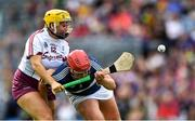 8 September 2019; Meadbh Scally of Westmeath in action against Rachel Monaghan of Galway during the Liberty Insurance All-Ireland Intermediate Camogie Championship Final match between Galway and Westmeath at Croke Park in Dublin. Photo by Piaras Ó Mídheach/Sportsfile