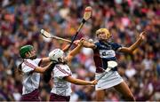 8 September 2019; Laura Glynn, left, and Dervla Higgins of Galway in action against Megan Dowdall of Westmeath during the Liberty Insurance All-Ireland Intermediate Camogie Championship Final match between Galway and Westmeath at Croke Park in Dublin. Photo by Ramsey Cardy/Sportsfile
