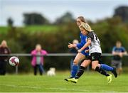 8 September 2019; Charlie Graham of Whitehall Rangers shoots to score her side's fourth goal, despite the attention of Sinead Flannery or Manulla FC, during the FAI Women's Intermediate Shield Final match between Manulla FC and Whitehall Rangers at Mullingar Athletic FC in Mullingar, Co. Westmeath. Photo by Seb Daly/Sportsfile