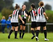 8 September 2019; Leah Farrell of Whitehall Rangers, second left, is congratulated by team-mates after scoring her side's fifth goal during the FAI Women's Intermediate Shield Final match between Manulla FC and Whitehall Rangers at Mullingar Athletic FC in Mullingar, Co. Westmeath. Photo by Seb Daly/Sportsfile