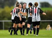 8 September 2019; Leah Farrell of Whitehall Rangers, left, is congratulated by team-mates after scoring her side's fifth goal during the FAI Women's Intermediate Shield Final match between Manulla FC and Whitehall Rangers at Mullingar Athletic FC in Mullingar, Co. Westmeath. Photo by Seb Daly/Sportsfile