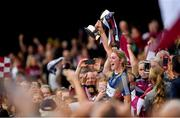 8 September 2019; Westmeath captain Mairéad McCormack lifts the Jack McGrath Cup following the Liberty Insurance All-Ireland Intermediate Camogie Championship Final match between Galway and Westmeath at Croke Park in Dublin. Photo by Ramsey Cardy/Sportsfile