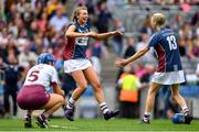 8 September 2019; Megan Dowdall, left, and Michelle Murtagh of Westmeath celebrate following the Liberty Insurance All-Ireland Intermediate Camogie Championship Final match between Galway and Westmeath at Croke Park in Dublin. Photo by Ramsey Cardy/Sportsfile