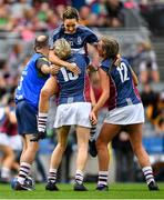 8 September 2019; Michelle Murtagh, left, Emma Flynn, centre, and Megan Dowdall of Westmeath celebrate following the Liberty Insurance All-Ireland Intermediate Camogie Championship Final match between Galway and Westmeath at Croke Park in Dublin. Photo by Ramsey Cardy/Sportsfile