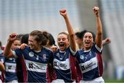 8 September 2019; Muireann Scally, left, Amy Cully, centre, and Sarah King of Westmeath celebrate following the Liberty Insurance All-Ireland Intermediate Camogie Championship Final match between Galway and Westmeath at Croke Park in Dublin. Photo by Ramsey Cardy/Sportsfile