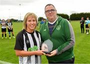 8 September 2019; Whitehall Rangers captain Charlie Graham is presented with the Player of the Match trophy by Derek Collins, FAI Women's Council, following the FAI Women's Intermediate Shield Final match between Manulla FC and Whitehall Rangers at Mullingar Athletic FC in Mullingar, Co. Westmeath. Photo by Seb Daly/Sportsfile