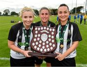 8 September 2019; Whitehall Rangers players, from left, Debbie Burnett, Sinead O'Kelly and Michelle Walls with the trophy following their side's victory during the FAI Women's Intermediate Shield Final match between Manulla FC and Whitehall Rangers at Mullingar Athletic FC in Mullingar, Co. Westmeath. Photo by Seb Daly/Sportsfile