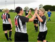 8 September 2019; Amy Henry, right, and Michelle McCaw of Whitehall Rangers congratulate each other following their side's victory during the FAI Women's Intermediate Shield Final match between Manulla FC and Whitehall Rangers at Mullingar Athletic FC in Mullingar, Co. Westmeath. Photo by Seb Daly/Sportsfile