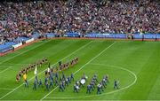 8 September 2019; The Artane Band leads both side's through the pre-match parade ahead of the Liberty Insurance All-Ireland Senior Camogie Championship Final match between Galway and Kilkenny at Croke Park in Dublin. Photo by Ramsey Cardy/Sportsfile