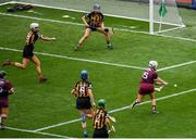 8 September 2019; Ailish O'Reilly of Galway shoots to score her side's first goal during the Liberty Insurance All-Ireland Senior Camogie Championship Final match between Galway and Kilkenny at Croke Park in Dublin. Photo by Ramsey Cardy/Sportsfile