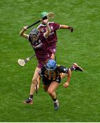8 September 2019; Meighan Farrell of Kilkenny in action against Carrie Dolan of Galway during the Liberty Insurance All-Ireland Senior Camogie Championship Final match between Galway and Kilkenny at Croke Park in Dublin. Photo by Ramsey Cardy/Sportsfile