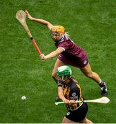 8 September 2019; Miriam Walsh of Kilkenny in action against Sarah Dervan of Galway during the Liberty Insurance All-Ireland Senior Camogie Championship Final match between Galway and Kilkenny at Croke Park in Dublin. Photo by Ramsey Cardy/Sportsfile