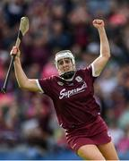8 September 2019; Ailish O'Reilly of Galway celebrates scoring her side's third goal during the Liberty Insurance All-Ireland Senior Camogie Championship Final match between Galway and Kilkenny at Croke Park in Dublin. Photo by Piaras Ó Mídheach/Sportsfile