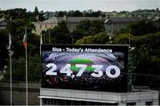 8 September 2019; A view of the screen announcing the 24,730 attendance during the Liberty Insurance All-Ireland Senior Camogie Championship Final match between Galway and Kilkenny at Croke Park in Dublin. Photo by Ramsey Cardy/Sportsfile