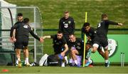 8 September 2019; Republic of Ireland players, from left, Jack Byrne, James McClean, Glenn Whelan and Cyrus Christie during a training session at the FAI National Training Centre in Abbotstown, Dublin. Photo by Stephen McCarthy/Sportsfile