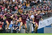 8 September 2019; Anna Farrell of Kilkenny passes off under pressure from Galway players, from left, Lorraine Ryan, Aoife Donohue and Sarah Dervan during the Liberty Insurance All-Ireland Senior Camogie Championship Final match between Galway and Kilkenny at Croke Park in Dublin. Photo by Piaras Ó Mídheach/Sportsfile