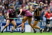 8 September 2019; Katie Power of Kilkenny in action against Heather Cooney, centre, and Aoife Donohue of Galway during the Liberty Insurance All-Ireland Senior Camogie Championship Final match between Galway and Kilkenny at Croke Park in Dublin. Photo by Piaras Ó Mídheach/Sportsfile