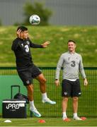 8 September 2019; John Egan and assistant coach Robbie Keane during a Republic of Ireland training session at the FAI National Training Centre in Abbotstown, Dublin. Photo by Stephen McCarthy/Sportsfile