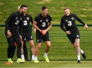 8 September 2019; Republic of Ireland players, from left, Shane Duffy, Kevin Long and James McClean during a training session at the FAI National Training Centre in Abbotstown, Dublin. Photo by Stephen McCarthy/Sportsfile