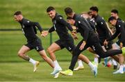 8 September 2019; Republic of Ireland players, from left, Alan Browne, John Egan and Shane Duffy during a training session at the FAI National Training Centre in Abbotstown, Dublin. Photo by Stephen McCarthy/Sportsfile