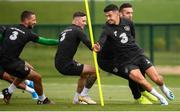 8 September 2019; Republic of Ireland players, John Egan, Shane Duffy, right, Alan Browne and Conor Hourihane, left, during a training session at the FAI National Training Centre in Abbotstown, Dublin. Photo by Stephen McCarthy/Sportsfile