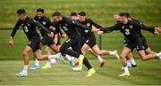 8 September 2019; Players, from left, John Egan, Shane Duffy and Alan Browne during a Republic of Ireland training session at the FAI National Training Centre in Abbotstown, Dublin. Photo by Stephen McCarthy/Sportsfile