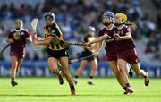 8 September 2019; Aoife Doyle of Kilkenny in action against Niamh Hanniffy, centre, and Anne Marie Starr of Galway during the Liberty Insurance All-Ireland Senior Camogie Championship Final match between Galway and Kilkenny at Croke Park in Dublin. Photo by Piaras Ó Mídheach/Sportsfile