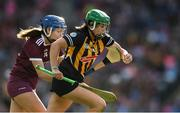 8 September 2019; Miriam Walsh of Kilkenny in action against Niamh Hanniffy of Galway during the Liberty Insurance All-Ireland Senior Camogie Championship Final match between Galway and Kilkenny at Croke Park in Dublin. Photo by Piaras Ó Mídheach/Sportsfile