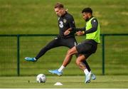 8 September 2019; Ronan Curtis and Cyrus Christie, right, during a Republic of Ireland training session at the FAI National Training Centre in Abbotstown, Dublin. Photo by Stephen McCarthy/Sportsfile