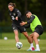 8 September 2019; Jeff Hendrick and John Egan, right, during a Republic of Ireland training session at the FAI National Training Centre in Abbotstown, Dublin. Photo by Stephen McCarthy/Sportsfile