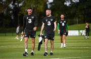 8 September 2019; Alan Browne, left, and Jack Byrne during a Republic of Ireland training session at the FAI National Training Centre in Abbotstown, Dublin. Photo by Stephen McCarthy/Sportsfile